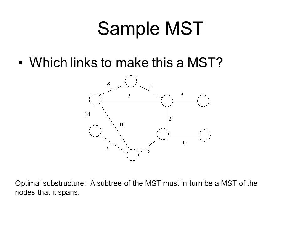 Sample MST Which links to make this a MST.