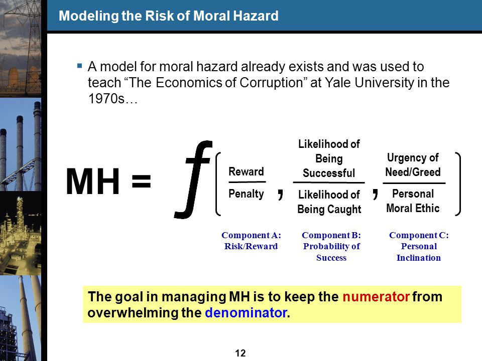 12 Reward Penalty Likelihood of Being Successful Likelihood of Being Caught Urgency of Need/Greed Personal Moral Ethic Component A: Risk/Reward Component B: Probability of Success Component C: Personal Inclination Modeling the Risk of Moral Hazard  A model for moral hazard already exists and was used to teach The Economics of Corruption at Yale University in the 1970s… MH = The goal in managing MH is to keep the numerator from overwhelming the denominator.