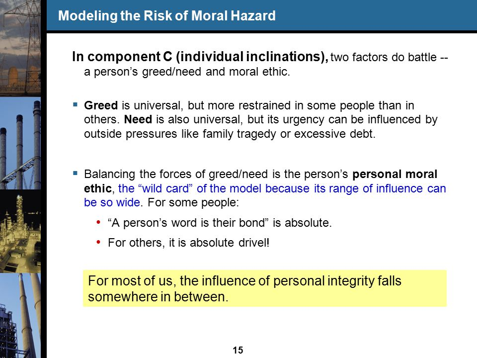 15 Modeling the Risk of Moral Hazard In component C (individual inclinations), two factors do battle -- a person's greed/need and moral ethic.