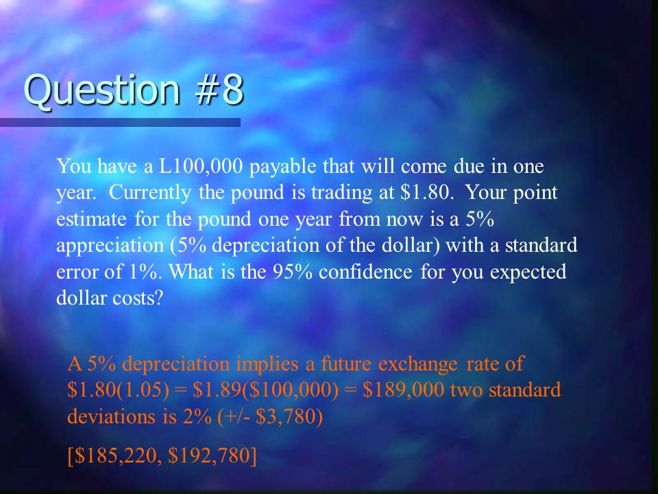 Question #9 If you had a payable denominated in Yen, how would you hedge this in the option market.