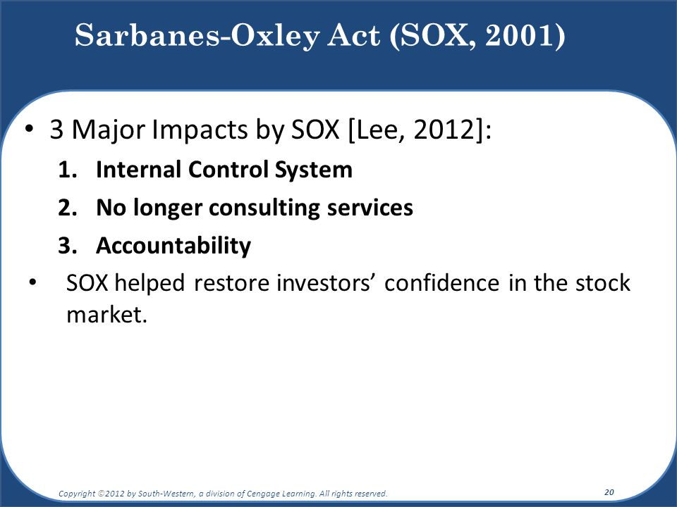 3 Major Impacts by SOX [Lee, 2012]: 1.Internal Control System 2.No longer consulting services 3.Accountability SOX helped restore investors' confidenc