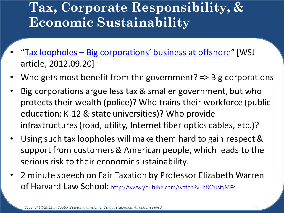 """Tax loopholes – Big corporations' business at offshore"" [WSJ article, 2012.09.20]Tax loopholes – Big corporations' business at offshore Who gets most"