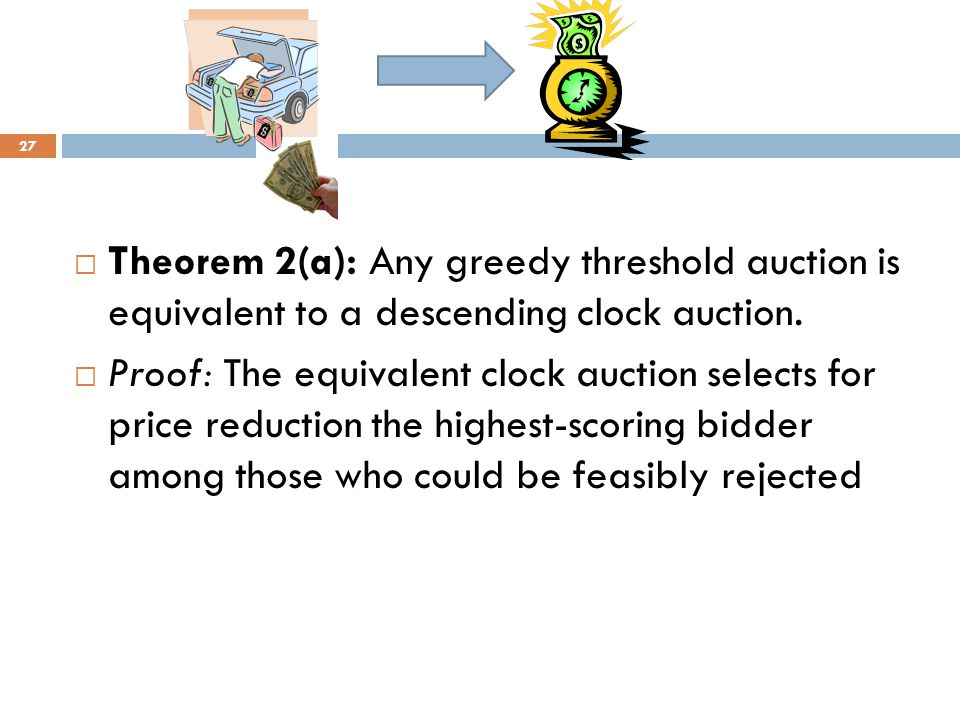  Theorem 2(a): Any greedy threshold auction is equivalent to a descending clock auction.