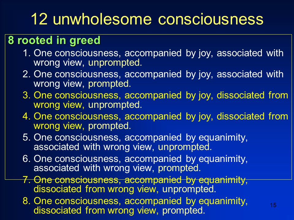 15 12 unwholesome consciousness 8 rooted in greed 1.One consciousness, accompanied by joy, associated with wrong view, unprompted.
