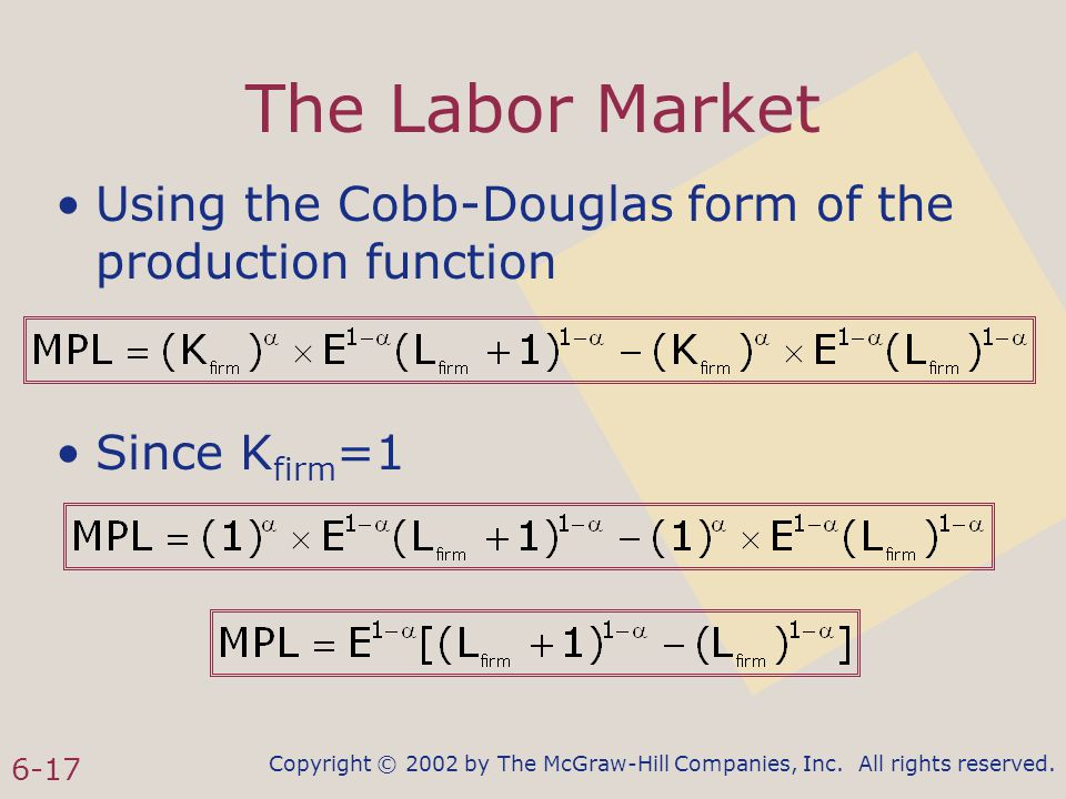 Copyright © 2002 by The McGraw-Hill Companies, Inc. All rights reserved. 6-17 The Labor Market Using the Cobb-Douglas form of the production function