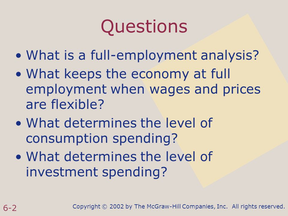 Copyright © 2002 by The McGraw-Hill Companies, Inc. All rights reserved. 6-2 Questions What is a full-employment analysis? What keeps the economy at f