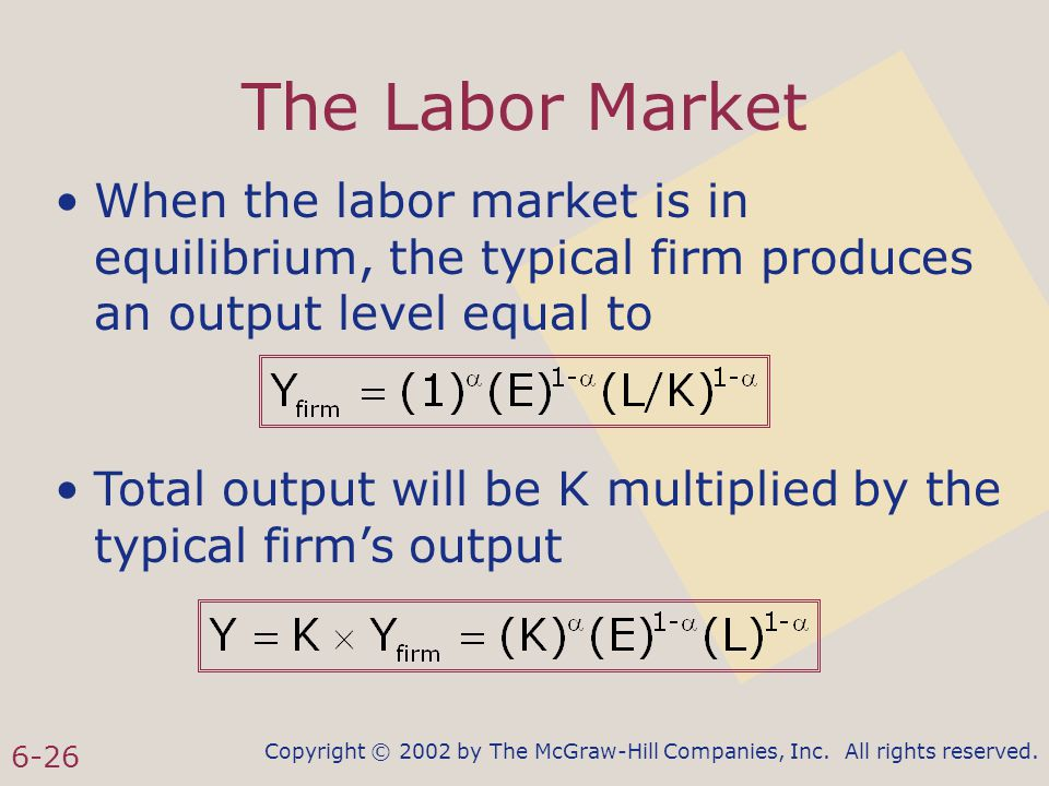 Copyright © 2002 by The McGraw-Hill Companies, Inc. All rights reserved. 6-26 The Labor Market When the labor market is in equilibrium, the typical fi