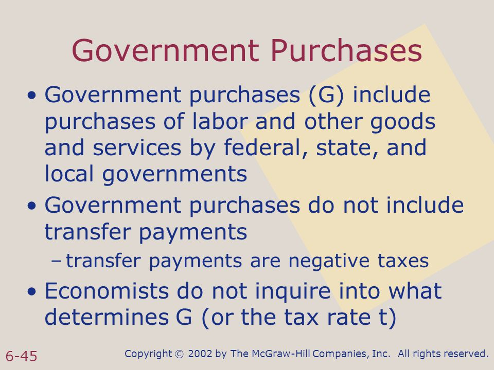 Copyright © 2002 by The McGraw-Hill Companies, Inc. All rights reserved. 6-45 Government Purchases Government purchases (G) include purchases of labor