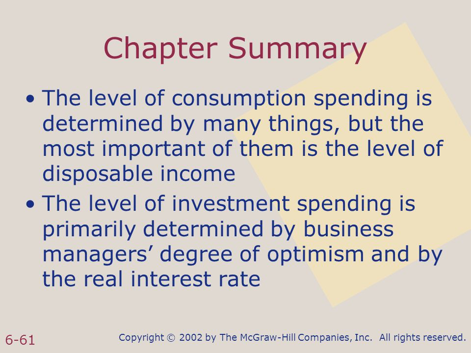 Copyright © 2002 by The McGraw-Hill Companies, Inc. All rights reserved. 6-61 Chapter Summary The level of consumption spending is determined by many