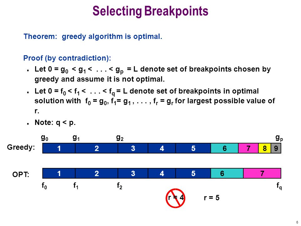 6 Selecting Breakpoints Theorem: greedy algorithm is optimal.