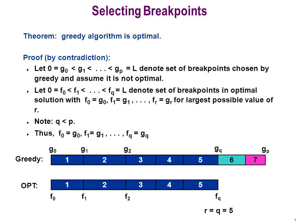 7 Selecting Breakpoints Theorem: greedy algorithm is optimal.