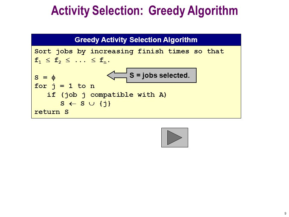9 Activity Selection: Greedy Algorithm Sort jobs by increasing finish times so that f 1  f 2 ...