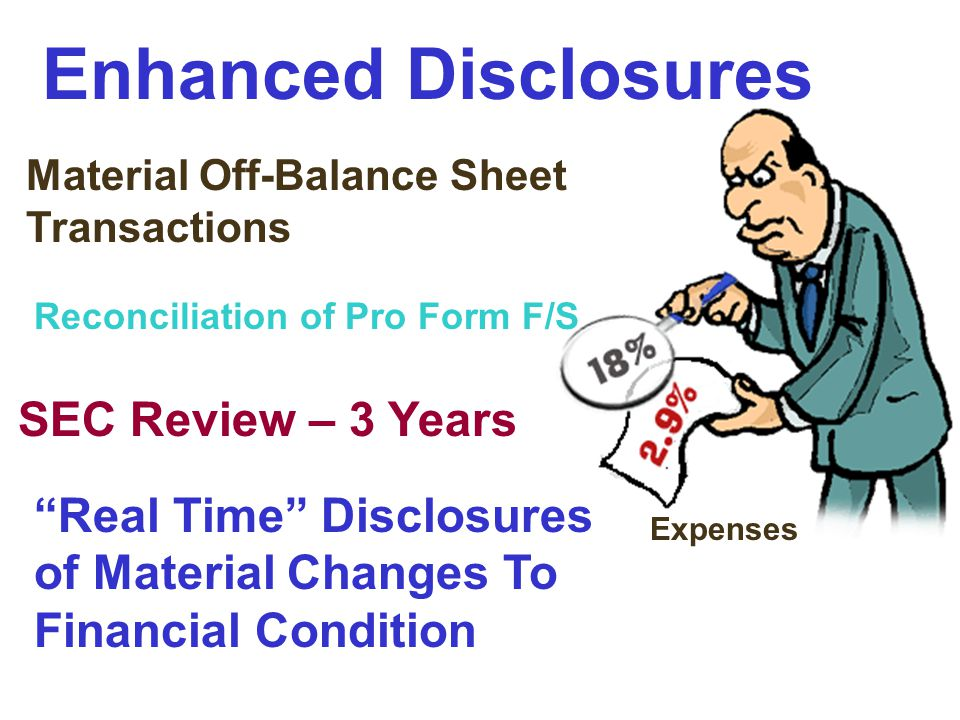 """Enhanced Disclosures Expenses Material Off-Balance Sheet Transactions Reconciliation of Pro Form F/S SEC Review – 3 Years """"Real Time"""" Disclosures of M"""