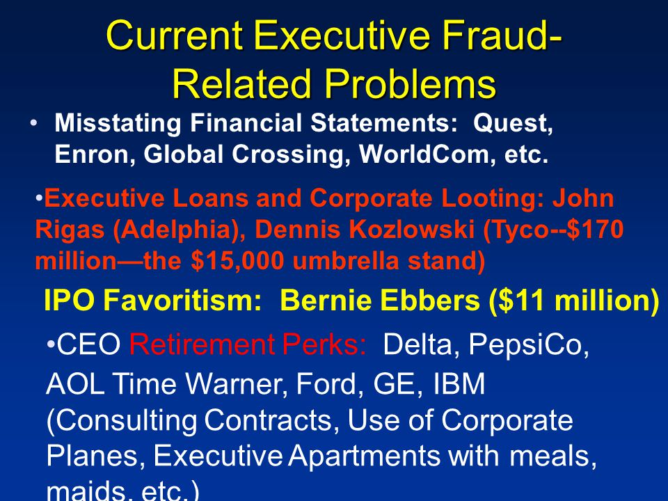 Current Executive Fraud- Related Problems Misstating Financial Statements: Quest, Enron, Global Crossing, WorldCom, etc. Executive Loans and Corporate