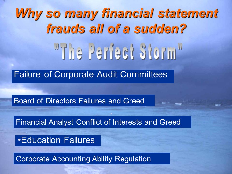 Why so many financial statement frauds all of a sudden? Failure of Corporate Audit Committees Board of Directors Failures and Greed Financial Analyst