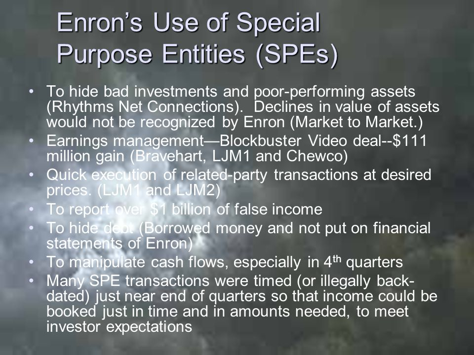 Enron's Use of Special Purpose Entities (SPEs) To hide bad investments and poor-performing assets (Rhythms Net Connections). Declines in value of asse