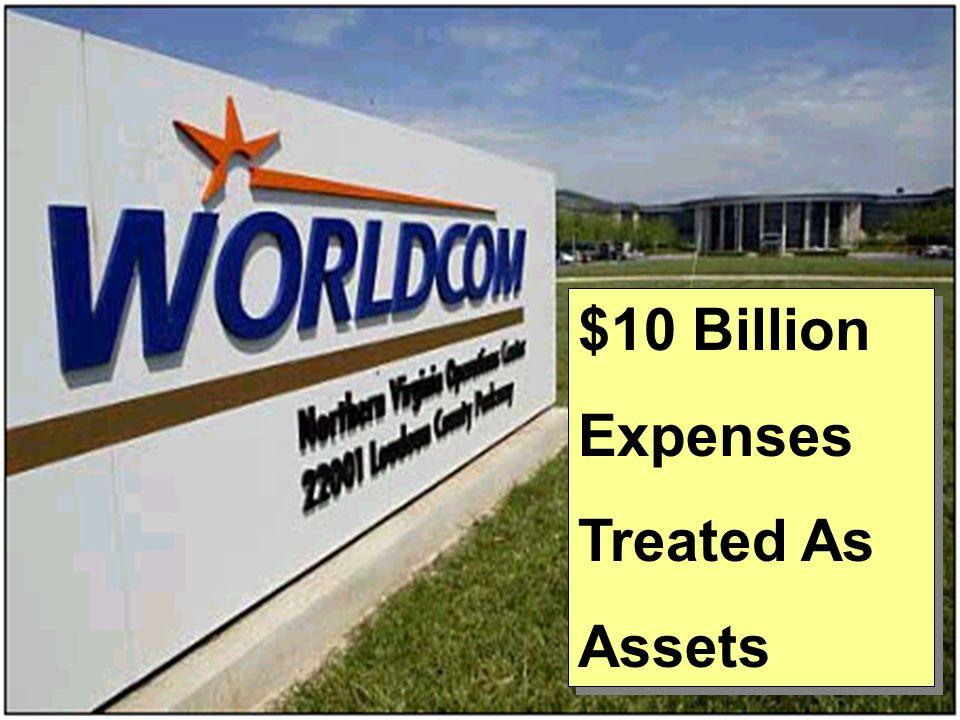 $10 Billion Expenses Treated As Assets $10 Billion Expenses Treated As Assets