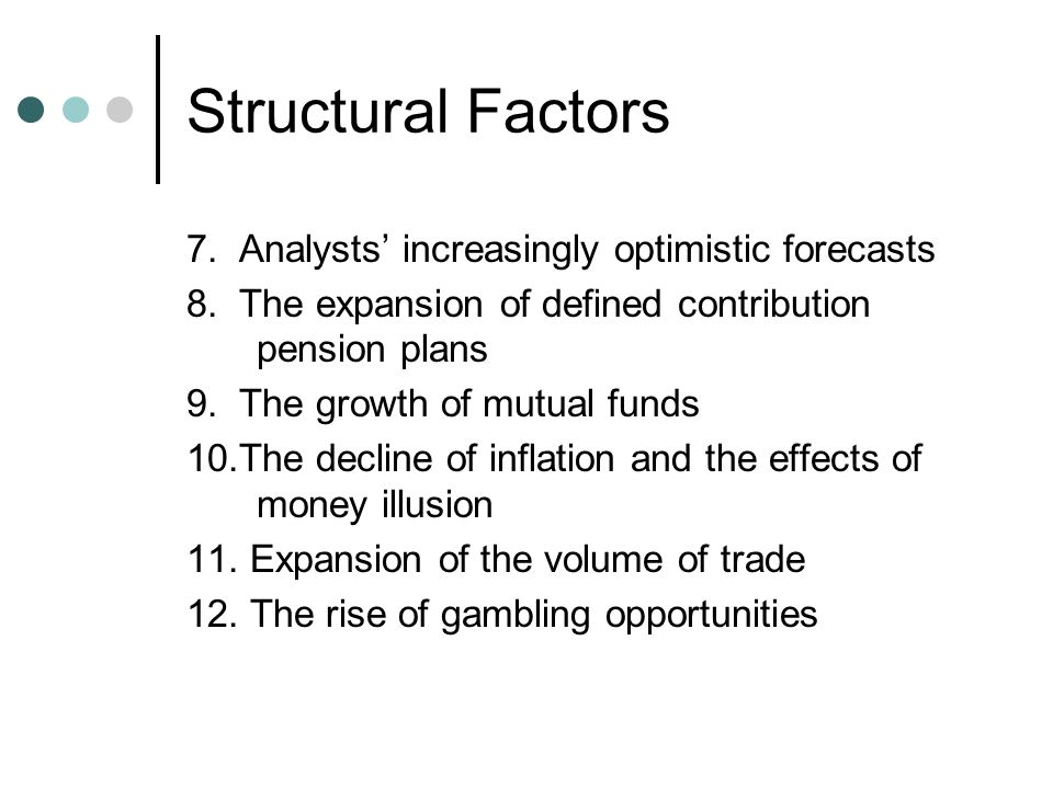 Structural Factors 7. Analysts' increasingly optimistic forecasts 8.