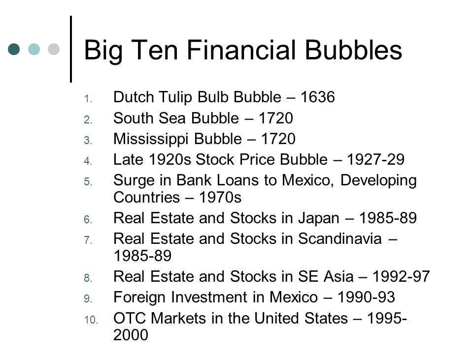 Big Ten Financial Bubbles 1. Dutch Tulip Bulb Bubble – 1636 2.