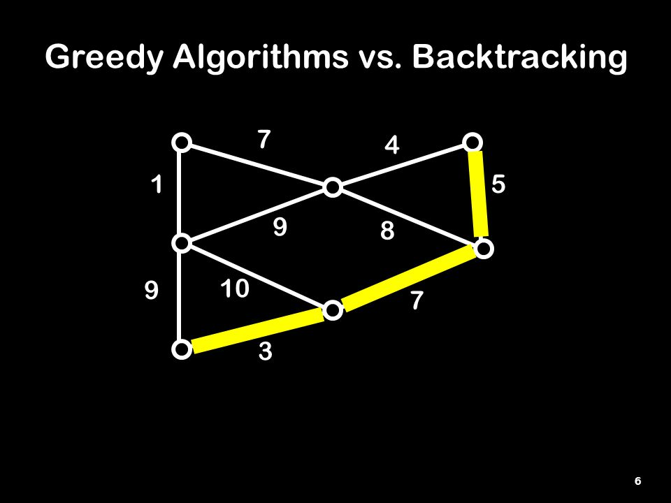 6 Greedy Algorithms vs. Backtracking 3 1 8 7 9 10 5 4 7 9