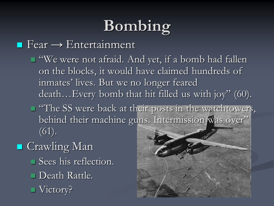 """Bombing Fear → Entertainment Fear → Entertainment """"We were not afraid. And yet, if a bomb had fallen on the blocks, it would have claimed hundreds of"""