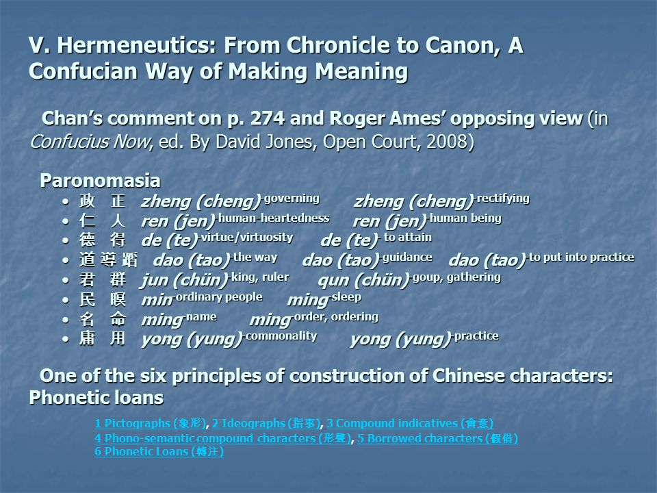 V. Hermeneutics: From Chronicle to Canon, A Confucian Way of Making Meaning Chan's comment on p.