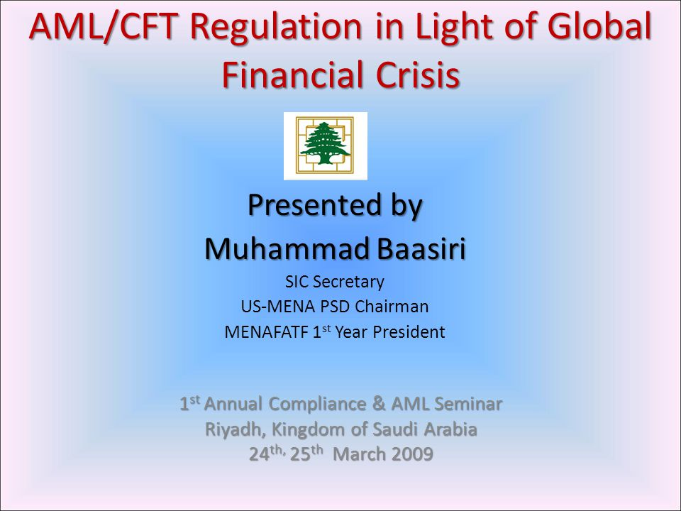  Reasons behind Global financial Crisis  Impact on AML in light of Global financial Crisis  Challenges facing AML in Light of Global Financial Crisis Accountability for the Global Financial Crime, Rethinking/redefining of AML Optimal Allocation of Human & Monetary Resources Cooperation between Developed & Developing countries Adequate priority to AML Program Regulatory framework to prevent future financial crisis  Conclusion 2 OutlineOutline