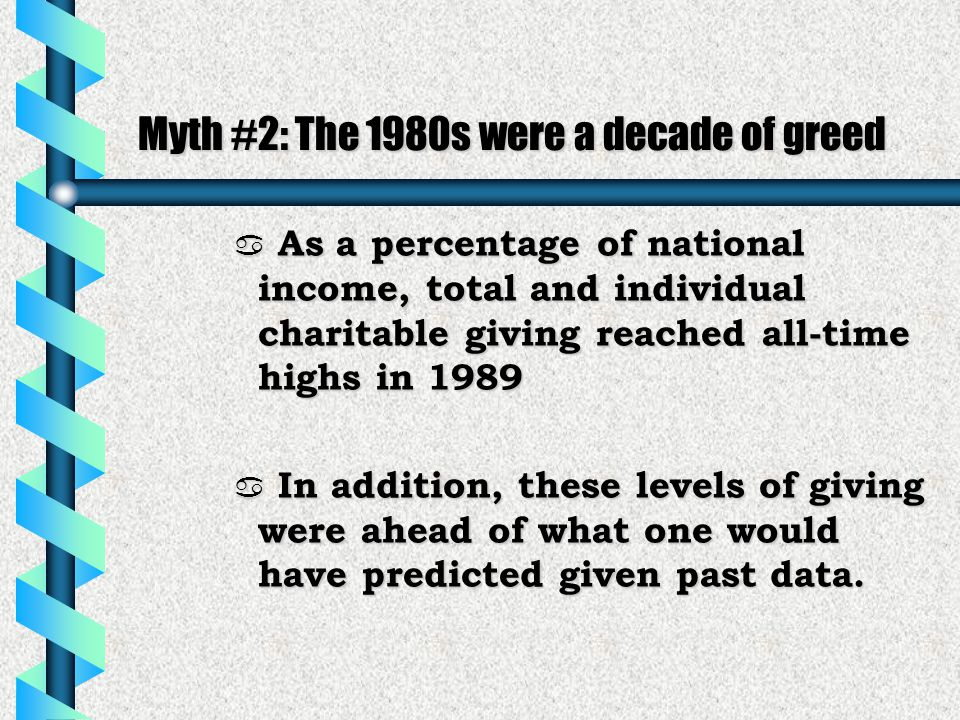 Myth #2: The 1980s were a decade of greed a As a percentage of national income, total and individual charitable giving reached all-time highs in 1989  In addition, these levels of giving were ahead of what one would have predicted given past data.