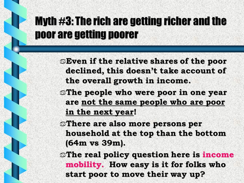 Myth #3: The rich are getting richer and the poor are getting poorer a Even if the relative shares of the poor declined, this doesn't take account of the overall growth in income.