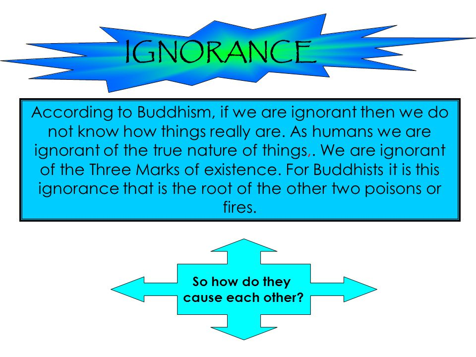 IGNORANCE According to Buddhism, if we are ignorant then we do not know how things really are. As humans we are ignorant of the true nature of things,