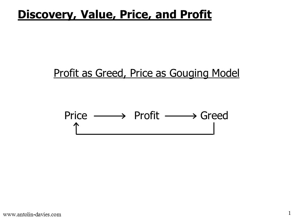 www.antolin-davies.com Discovery, Value, Price, and Profit 1 ProfitGreedPrice Profit as Greed, Price as Gouging Model