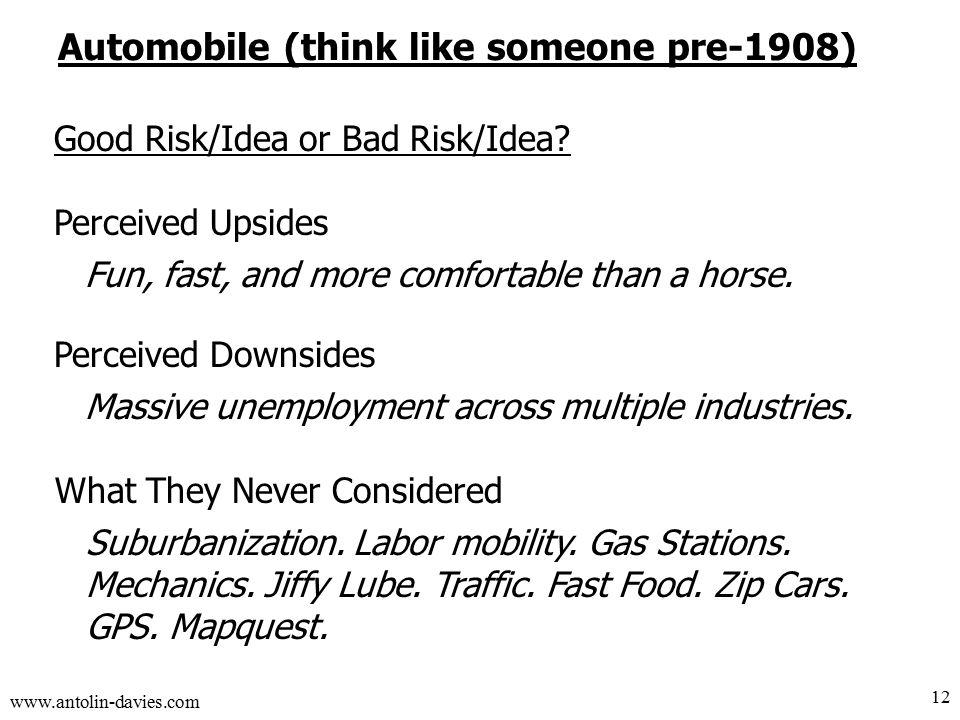 www.antolin-davies.com Automobile (think like someone pre-1908) Good Risk/Idea or Bad Risk/Idea.