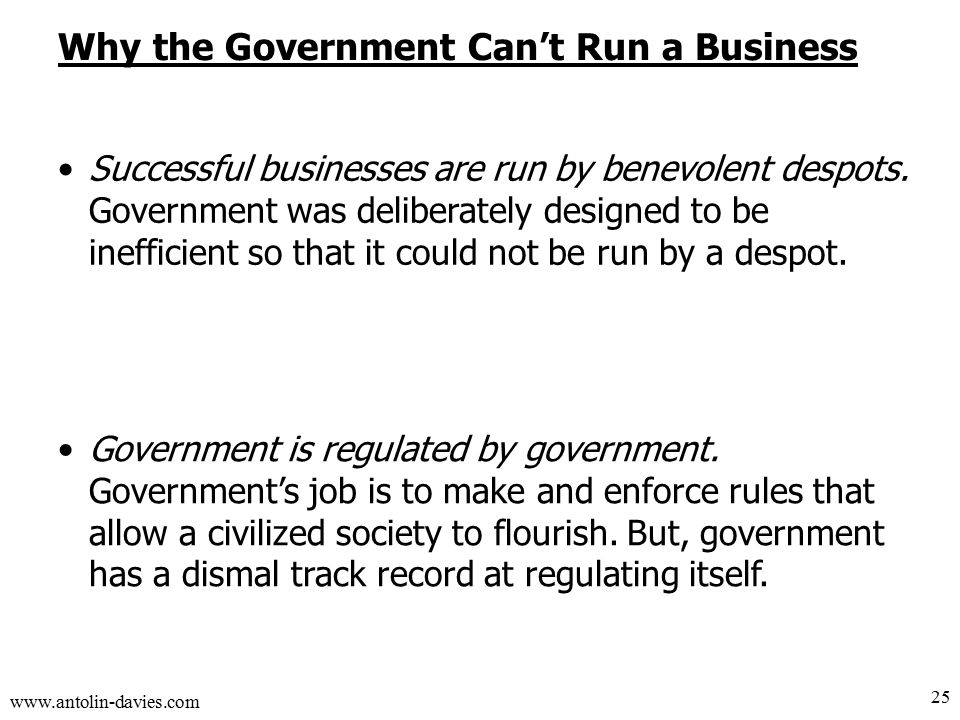 www.antolin-davies.com Why the Government Can't Run a Business Successful businesses are run by benevolent despots.