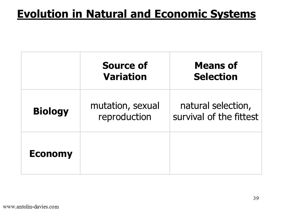 www.antolin-davies.com Source of Variation Means of Selection Biology mutation, sexual reproduction natural selection, survival of the fittest Economy entrepreneurial innovation profit and loss 39 Evolution in Natural and Economic Systems