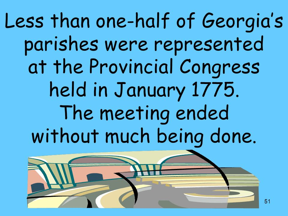 51 Less than one-half of Georgia's parishes were represented at the Provincial Congress held in January 1775.