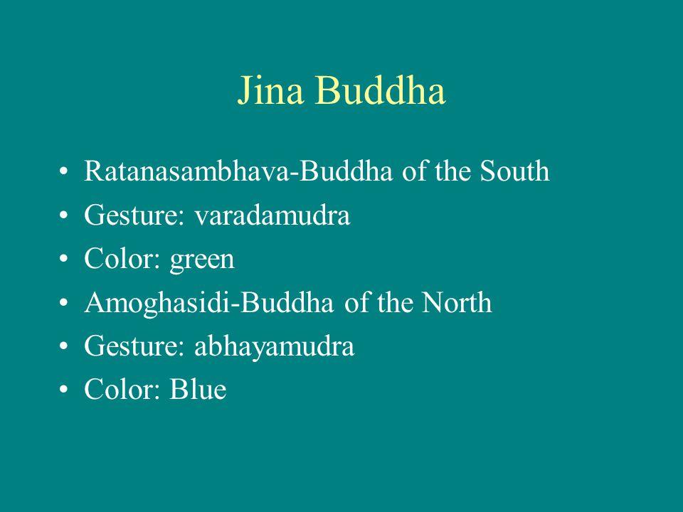 Jina Buddha Ratanasambhava-Buddha of the South Gesture: varadamudra Color: green Amoghasidi-Buddha of the North Gesture: abhayamudra Color: Blue
