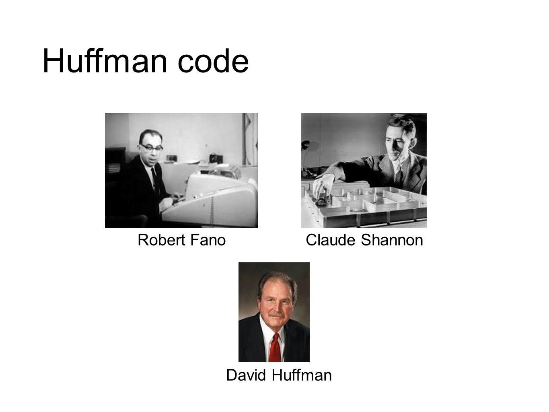 Huffman code Robert FanoClaude Shannon David Huffman