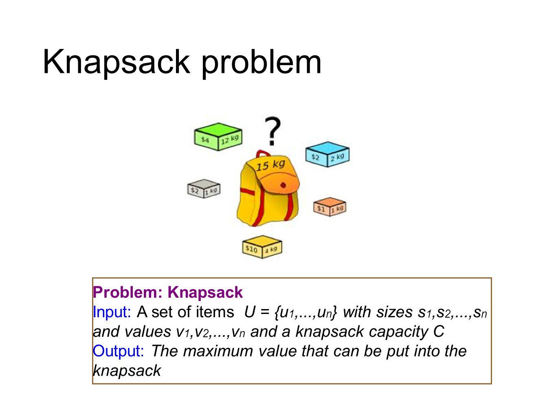 Knapsack problem Problem: Knapsack Input: A set of items U = {u 1,...,u n } with sizes s 1,s 2,...,s n and values v 1,v 2,...,v n and a knapsack capac