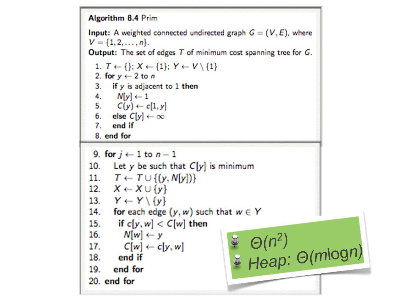 Θ(n 2 ) Heap: Θ(mlogn)