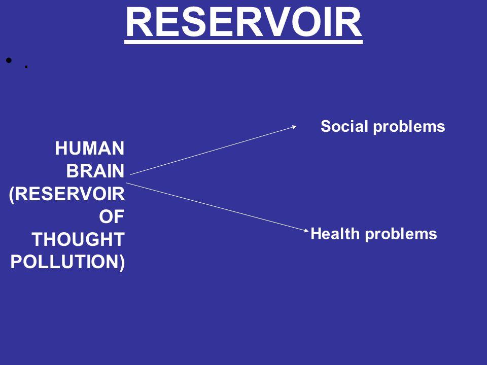 RESERVOIR. HUMAN BRAIN (RESERVOIR OF THOUGHT POLLUTION) Social problems Health problems