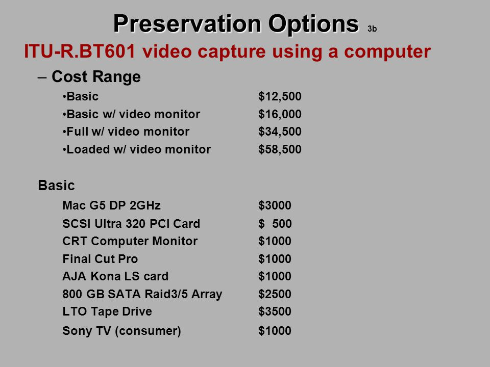 Preservation Options Preservation Options 3b ITU-R.BT601 video capture using a computer – Cost Range Basic $12,500 Basic w/ video monitor$16,000 Full