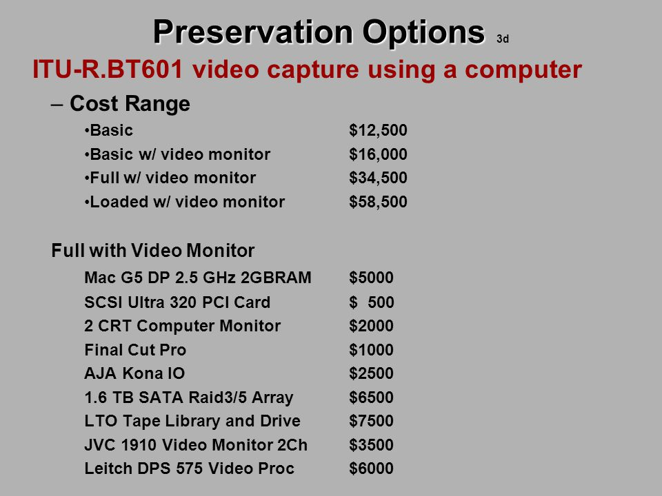 Preservation Options Preservation Options 3d ITU-R.BT601 video capture using a computer – Cost Range Basic $12,500 Basic w/ video monitor$16,000 Full