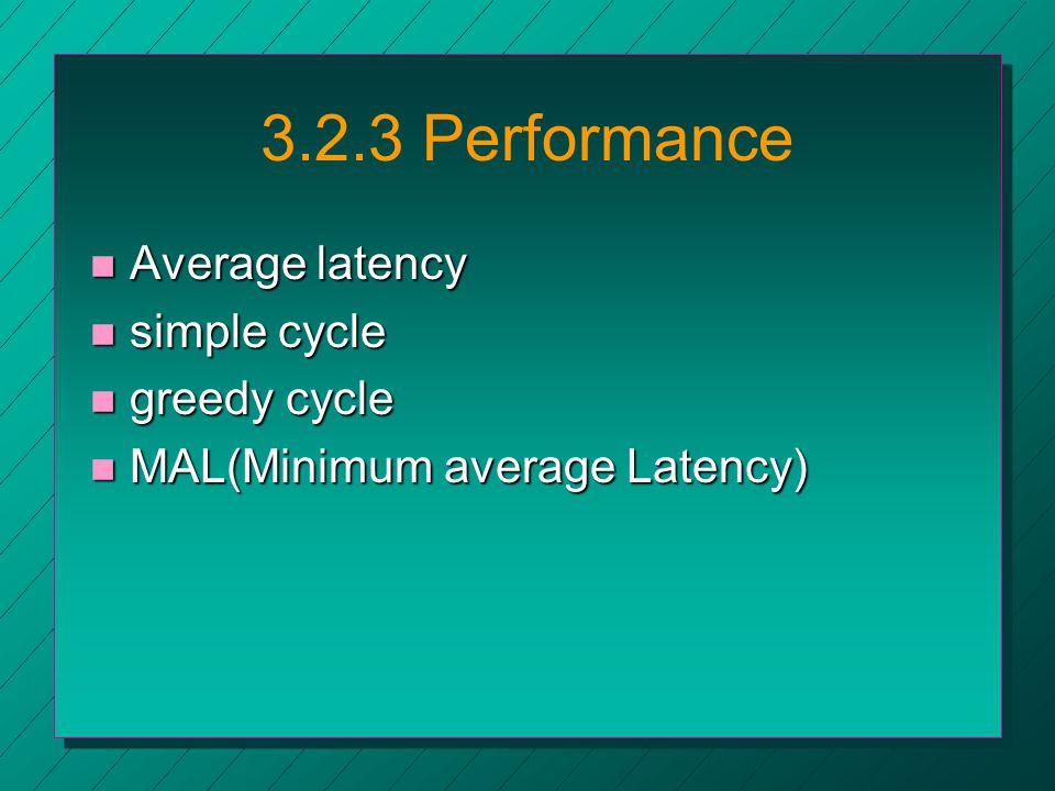 3.2.3 Performance n Average latency n simple cycle n greedy cycle n MAL(Minimum average Latency)