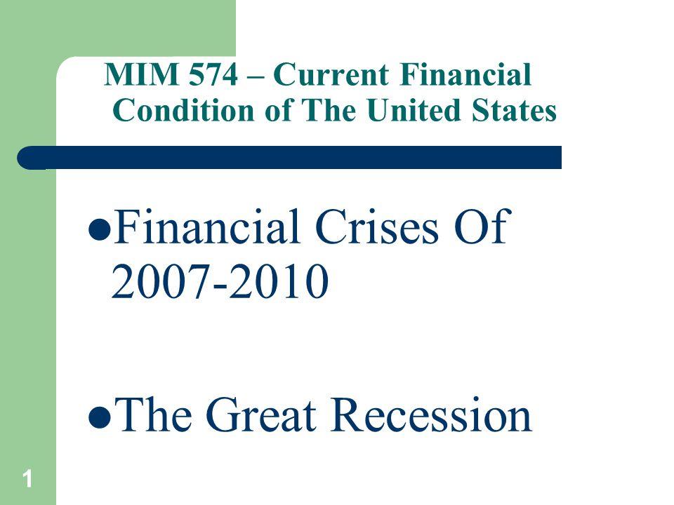 2 Causes 1.Housing Bubble – subprime mortgages a.