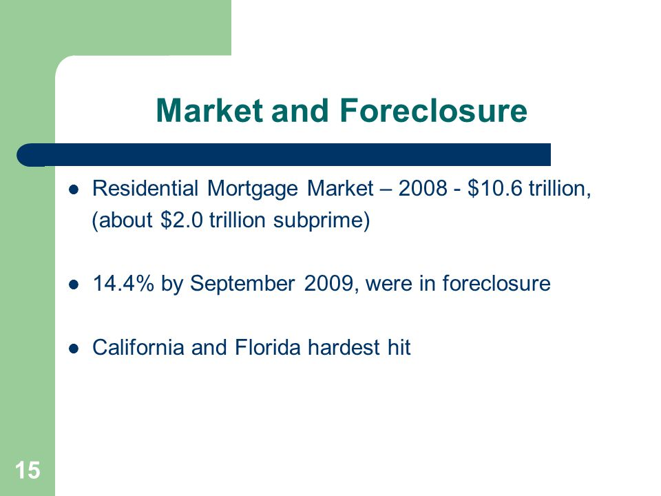 15 Market and Foreclosure Residential Mortgage Market – 2008 - $10.6 trillion, (about $2.0 trillion subprime) 14.4% by September 2009, were in foreclo