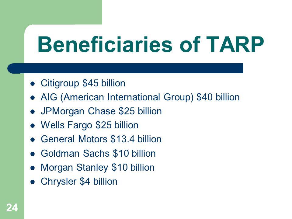 24 Beneficiaries of TARP Citigroup $45 billion AIG (American International Group) $40 billion JPMorgan Chase $25 billion Wells Fargo $25 billion General Motors $13.4 billion Goldman Sachs $10 billion Morgan Stanley $10 billion Chrysler $4 billion