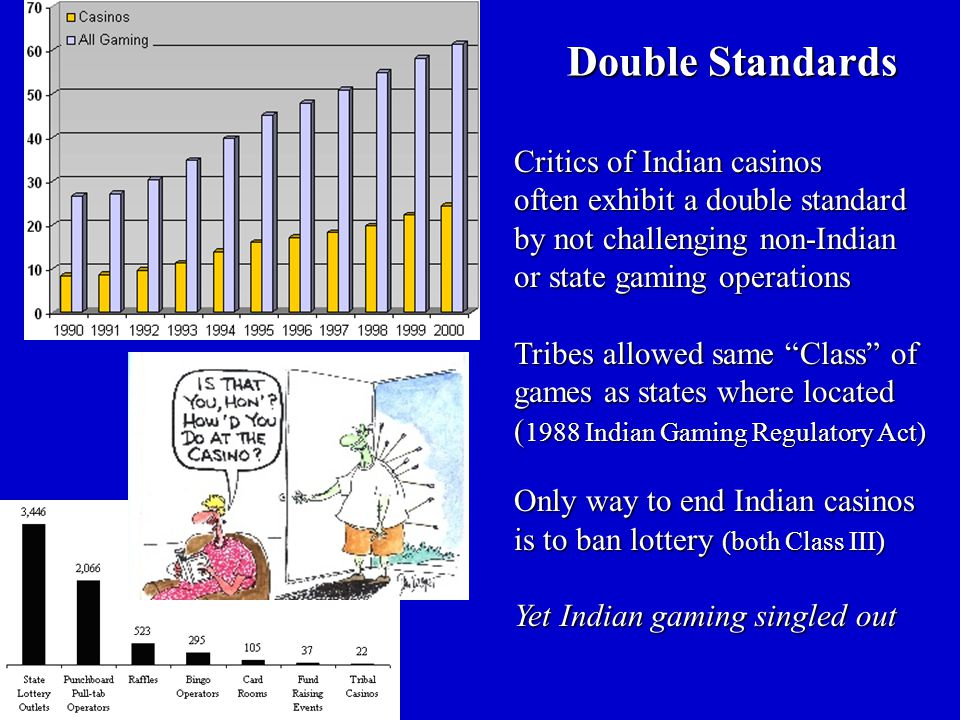 Critics of Indian casinos often exhibit a double standard by not challenging non-Indian or state gaming operations Tribes allowed same Class of games as states where located ( 1988 Indian Gaming Regulatory Act) Only way to end Indian casinos is to ban lottery (both Class III) Yet Indian gaming singled out Double Standards