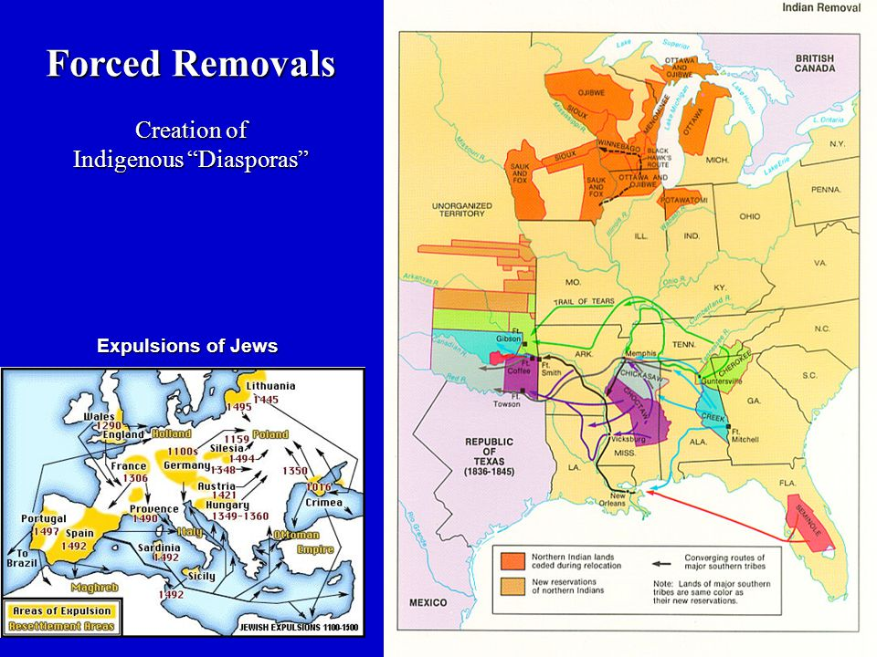 Forced Removals Creation of Indigenous Diasporas Expulsions of Jews