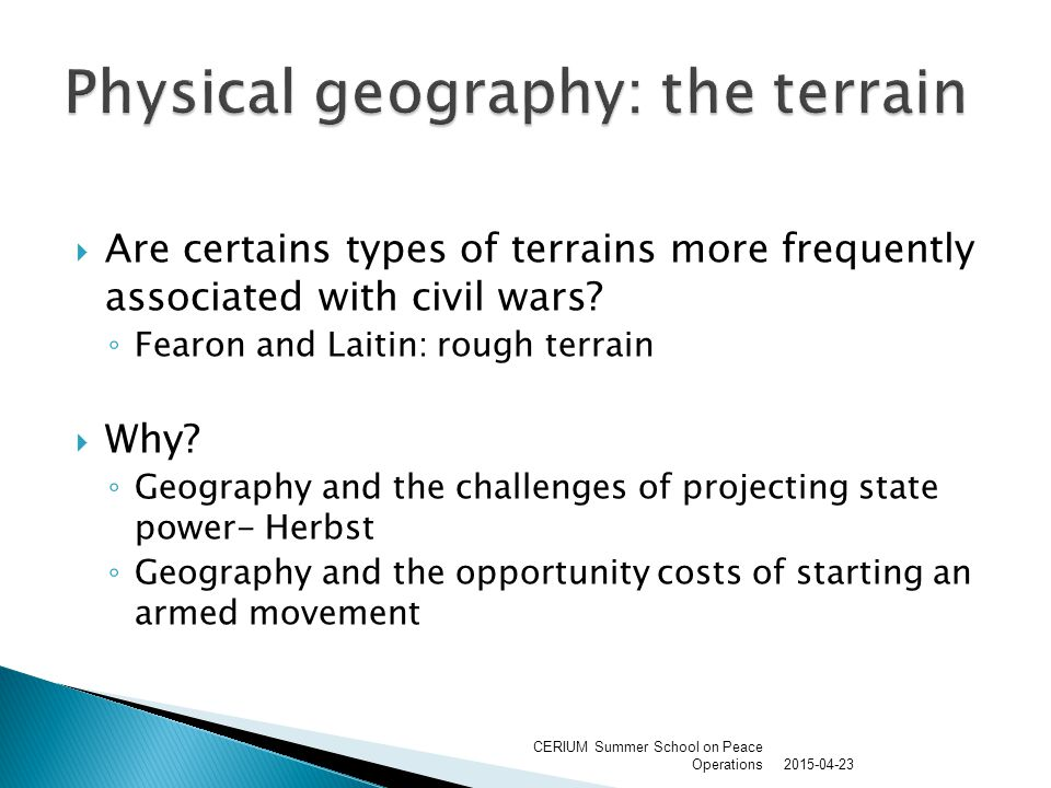  Are certains types of terrains more frequently associated with civil wars.