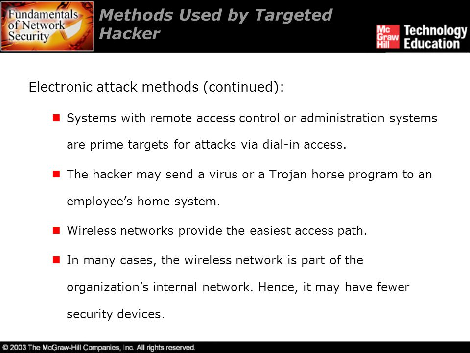 Methods Used by Targeted Hacker Physical attack methods: Social engineering is the safest physical attack method.